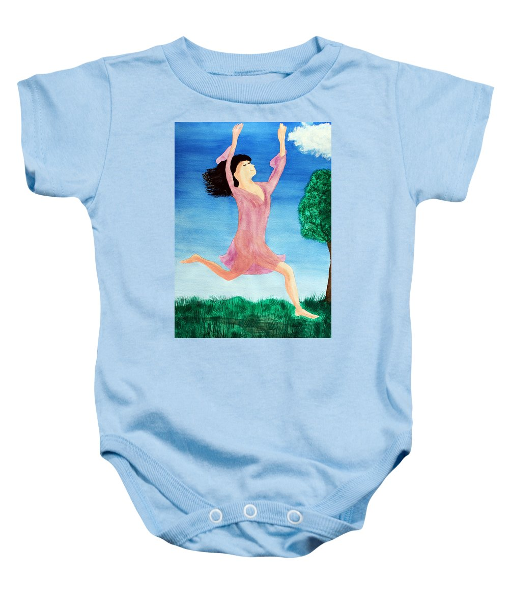 Adult Baby Onesie featuring the painting In Between Heaven And Earth by Lee Serenethos