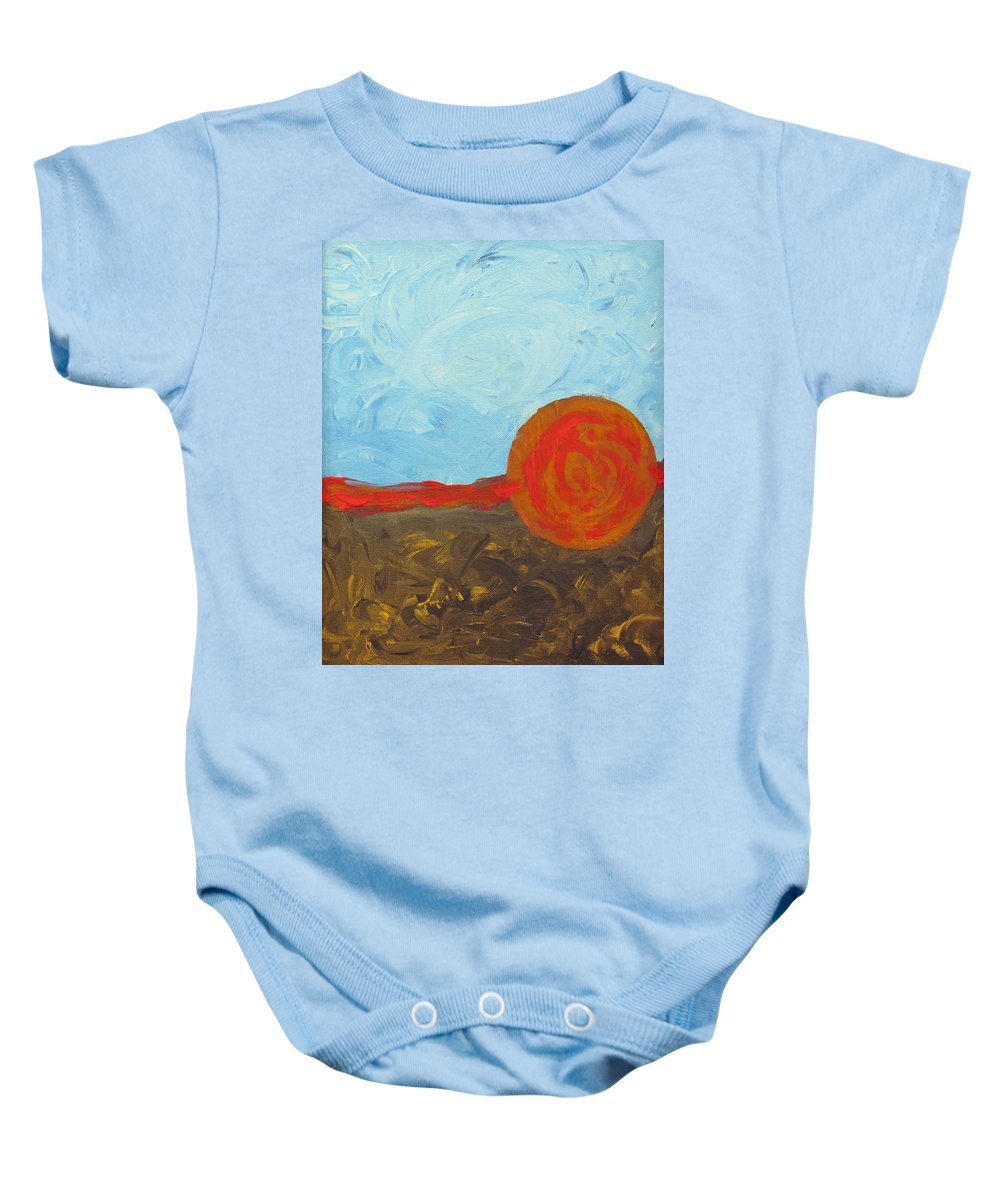 Palozzi Baby Onesie featuring the painting In Between by John Vincent Palozzi