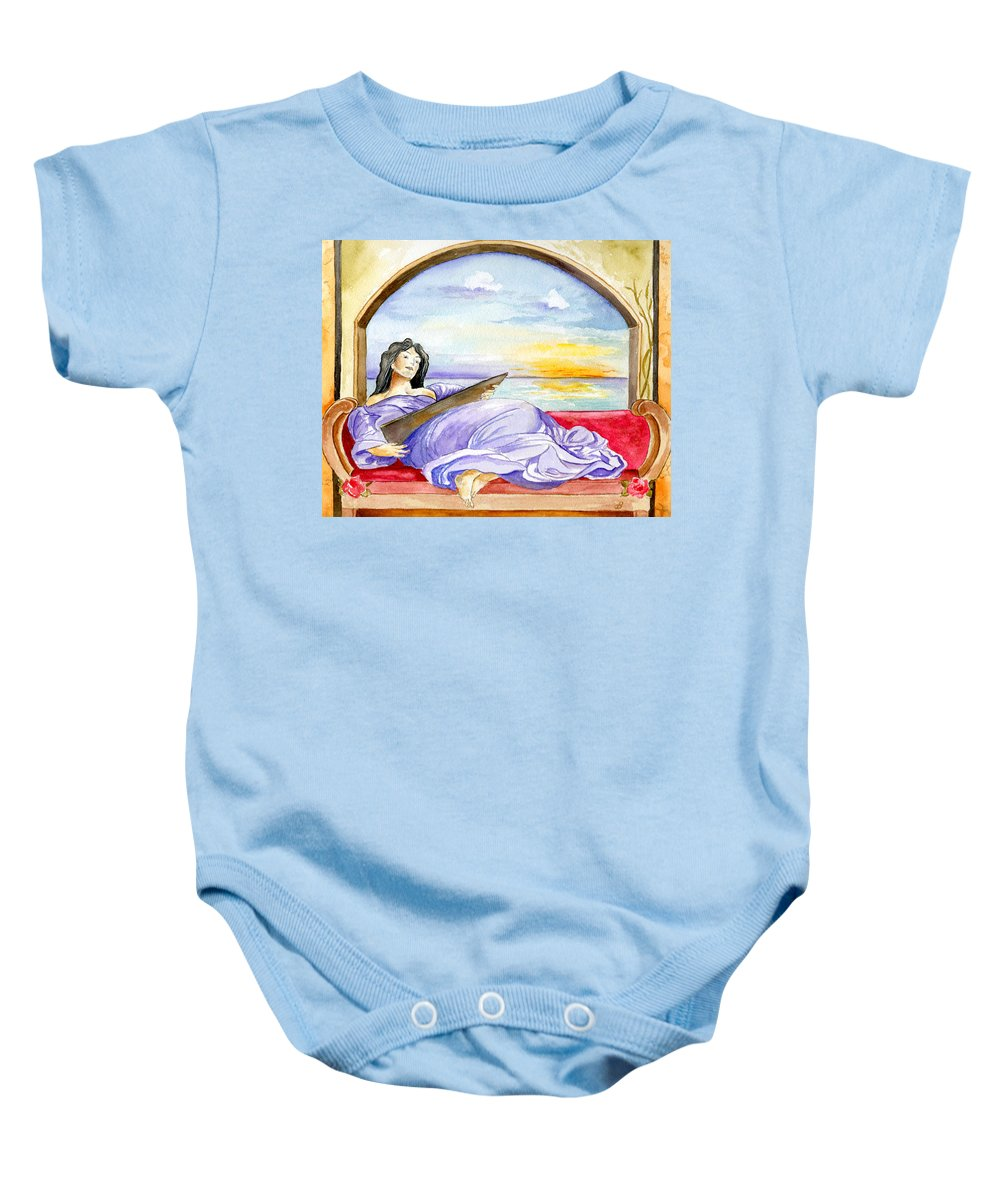 Landscape Woman Romantic Figure Window Sea Sky Baby Onesie featuring the painting In Paradisum by Brenda Owen