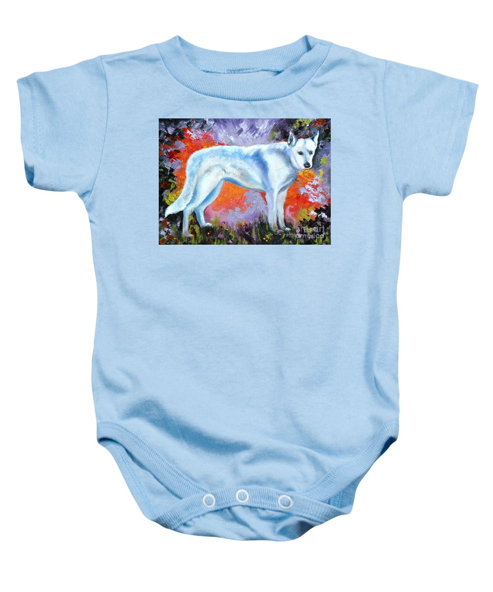 Dogs Baby Onesie featuring the painting In Shepherd Heaven by Susan A Becker