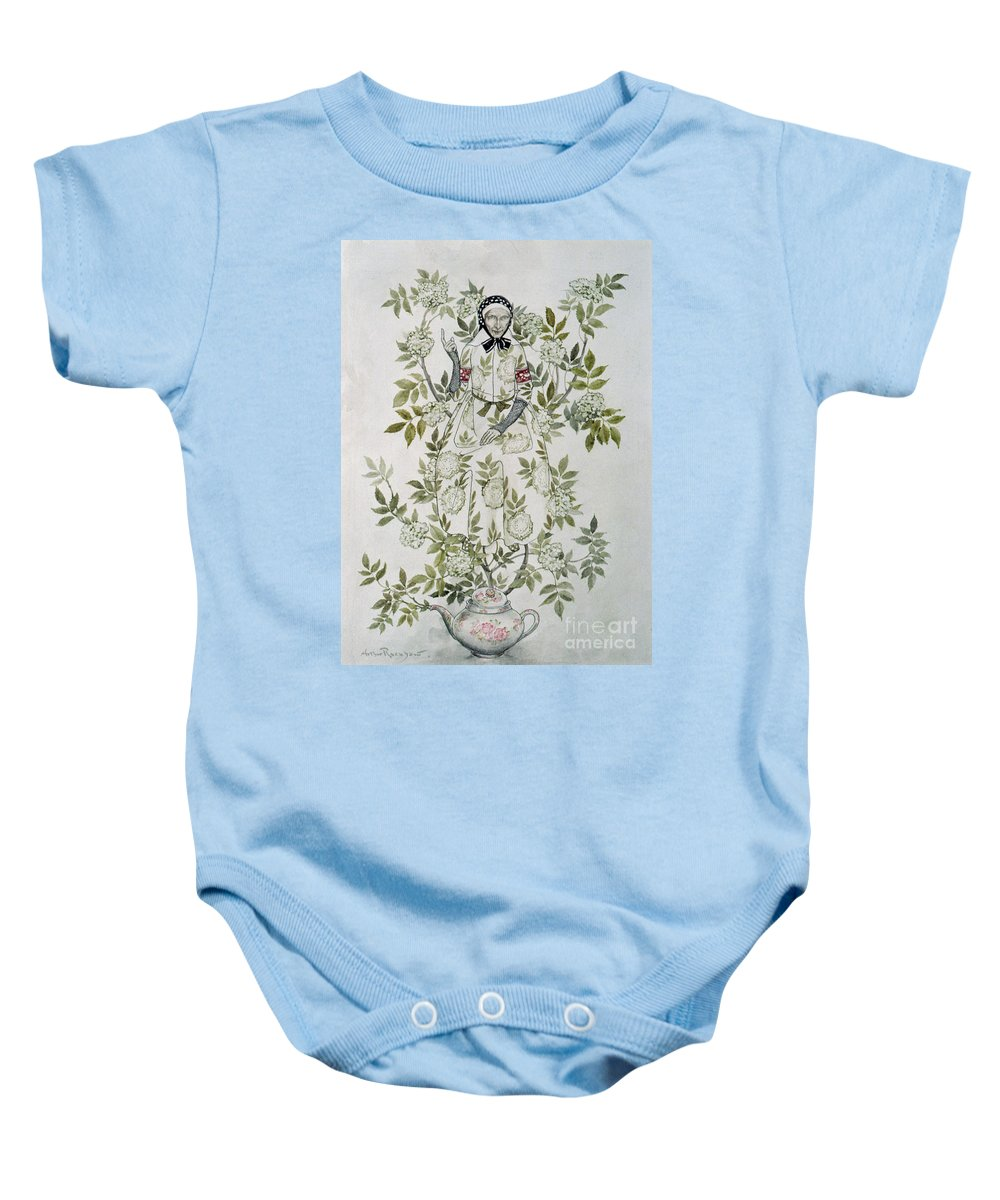 'in The Midst Of A Tree Sat A Kindly-looking Old Woman' Baby Onesie featuring the drawing In The Midst Of A Tree Sat A Kindly Looking Old Woman' by Arthur Rackham