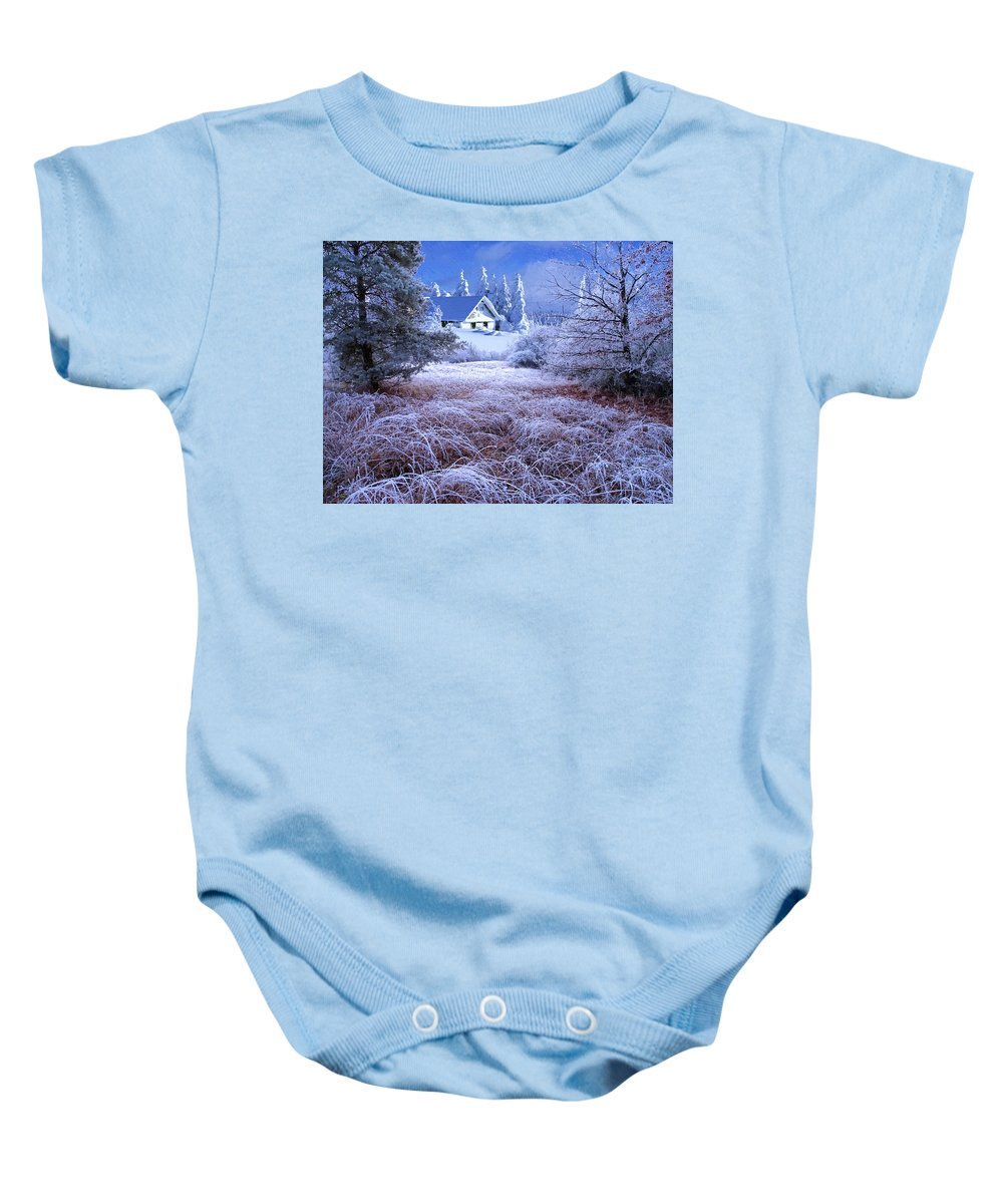 Winter Baby Onesie featuring the digital art In The Snowy Forest by Alex Lim
