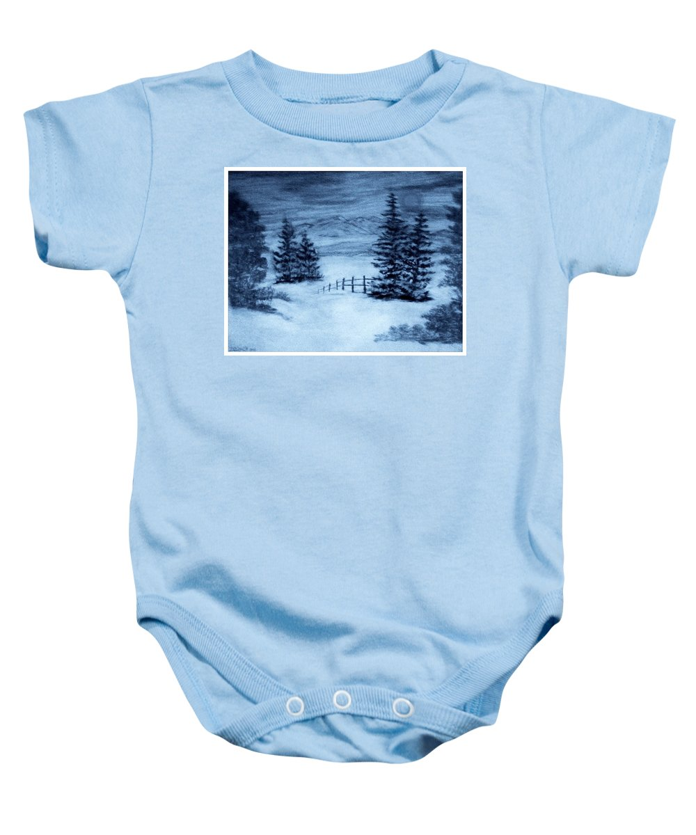 Mountain Baby Onesie featuring the painting In The Still Of The Night by Debra Lynch