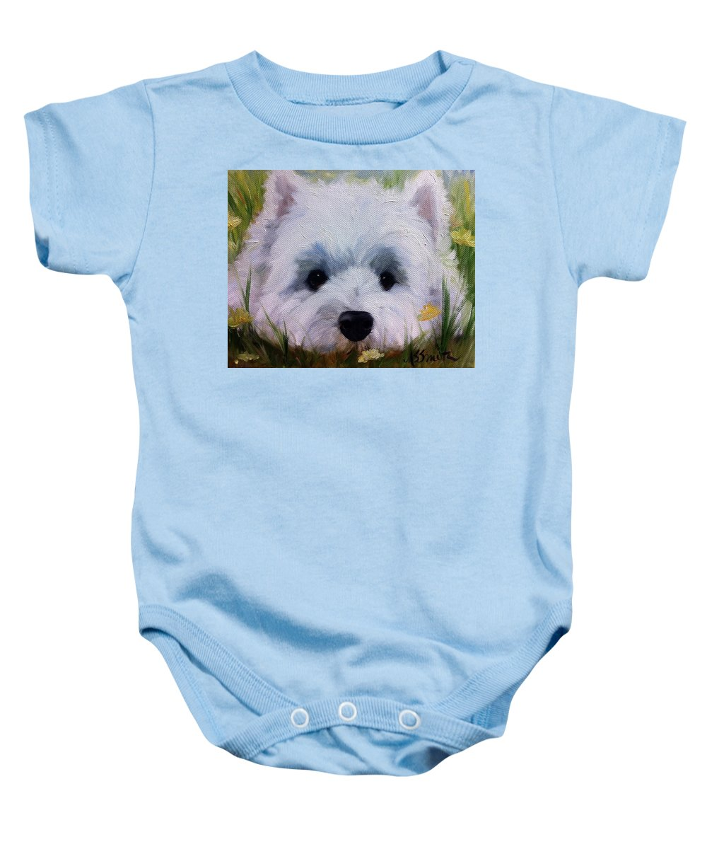 Art Baby Onesie featuring the painting In The Weeds by Mary Sparrow