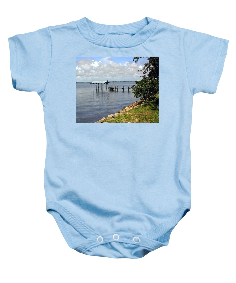 Pier; Wharf; Damaged; Hurricane; Indian; River; Florida; Indialantic; Brevard; Melbourne; Old; Inter Baby Onesie featuring the photograph Indian River In Indialantic Florida by Allan Hughes