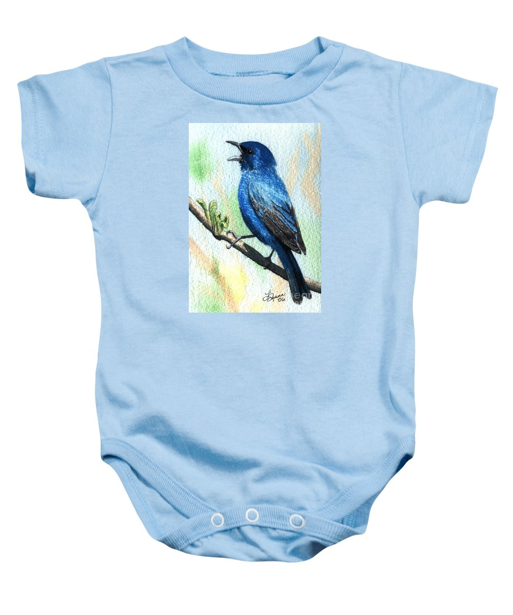 Bird Baby Onesie featuring the painting Indigo Bunting by Lynn Quinn