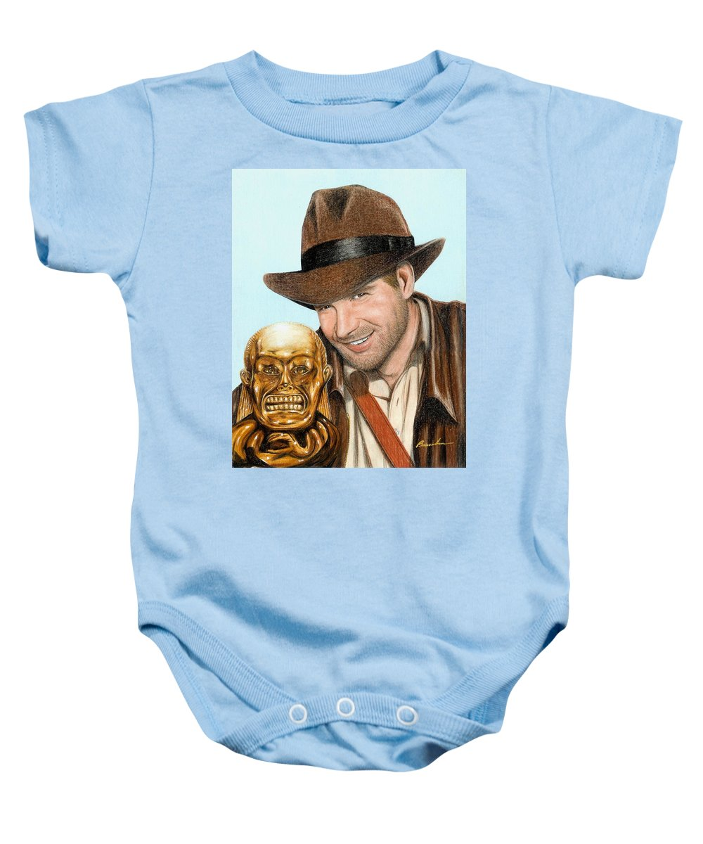 Raiders Of The Lost Ark Indiana Jones Bruce Lennon Art Harrison Ford Baby Onesie featuring the painting Indy by Bruce Lennon