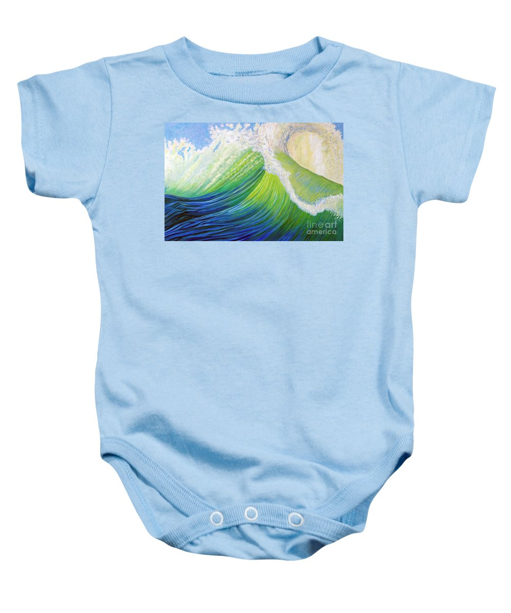 Ocean Baby Onesie featuring the painting Inner Ocean - Exaltation by Brian Commerford