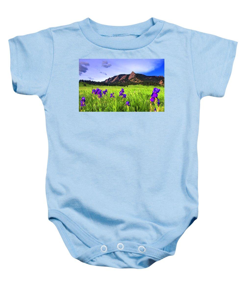 Flatirons Baby Onesie featuring the photograph Iris And Flatirons by Scott Mahon