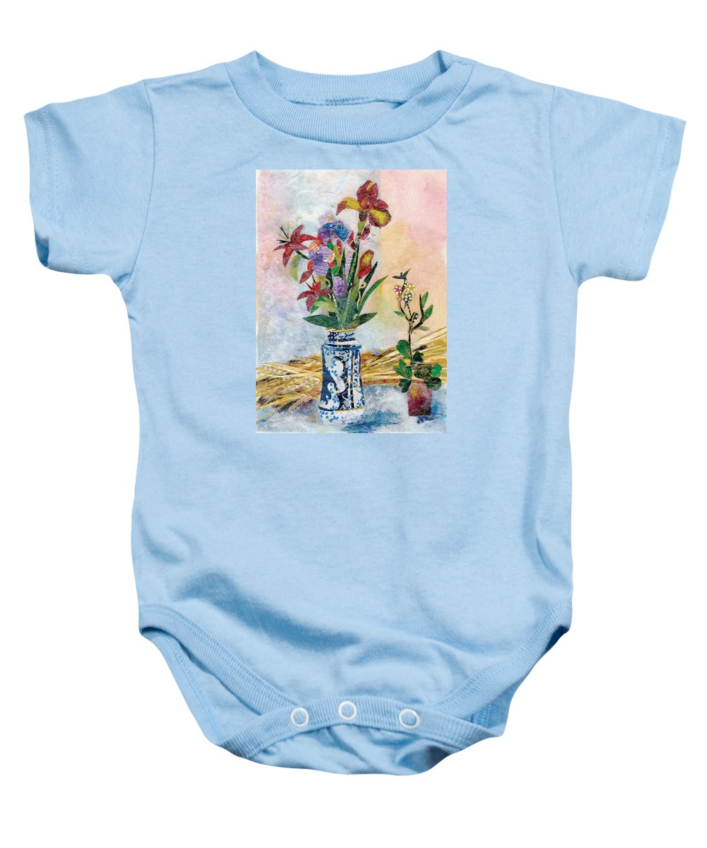 Limited Edition Prints Baby Onesie featuring the painting Iris by Nira Schwartz