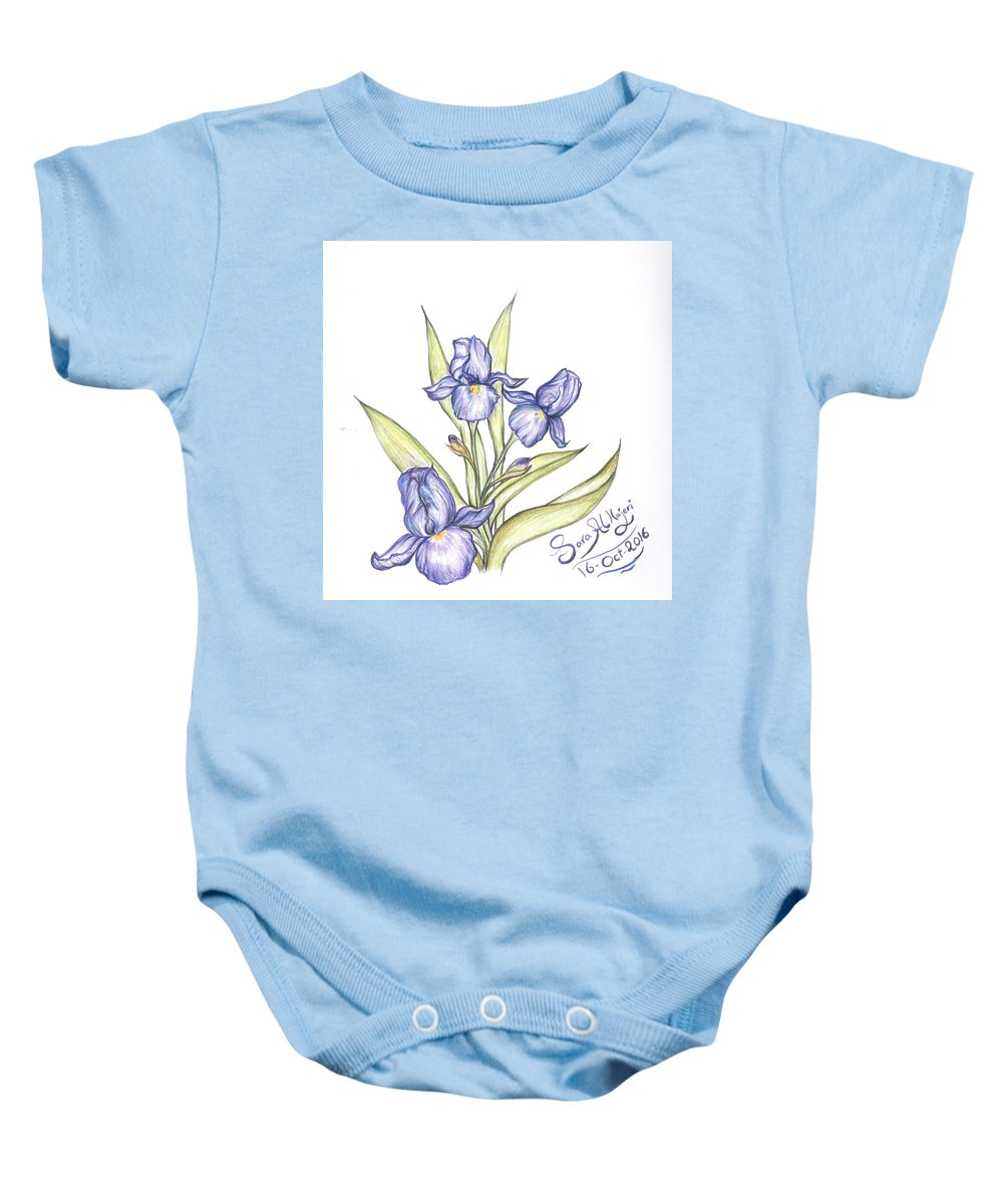 Baby Onesie featuring the drawing Irsi by Sara Alhajeri