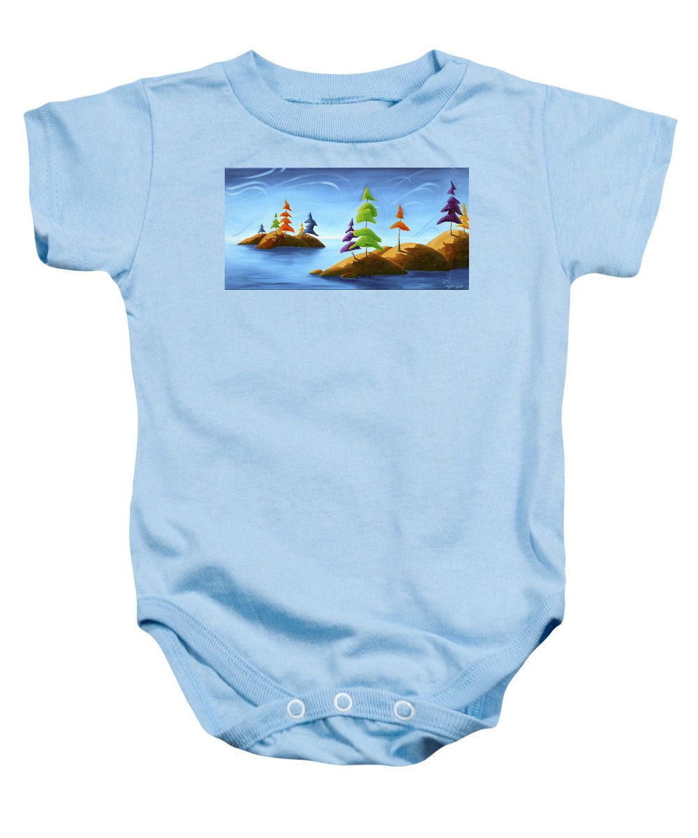 Landscape Baby Onesie featuring the painting Island Carnival by Richard Hoedl