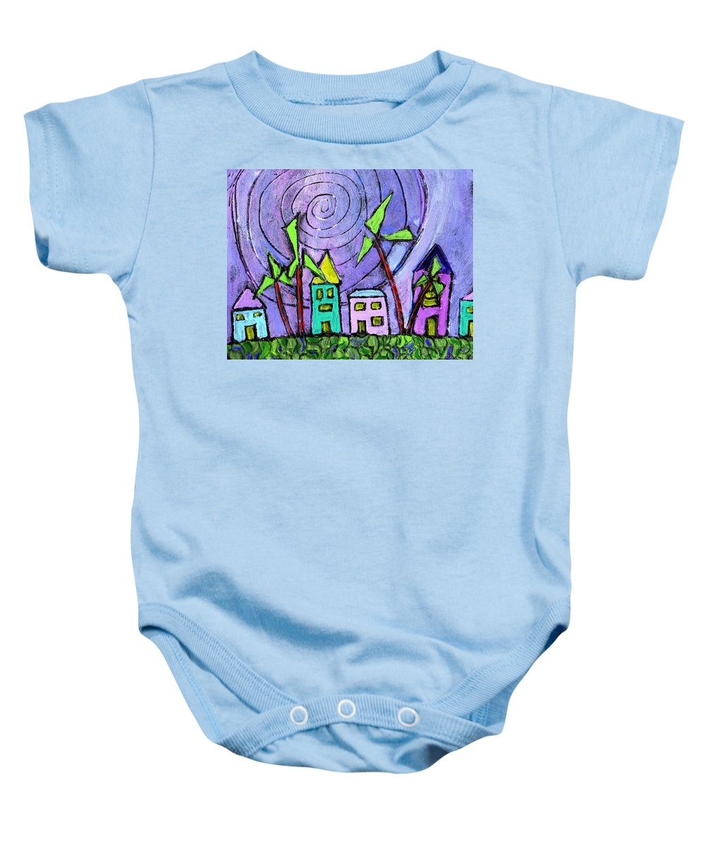 Island Baby Onesie featuring the painting Island Dreams by Wayne Potrafka