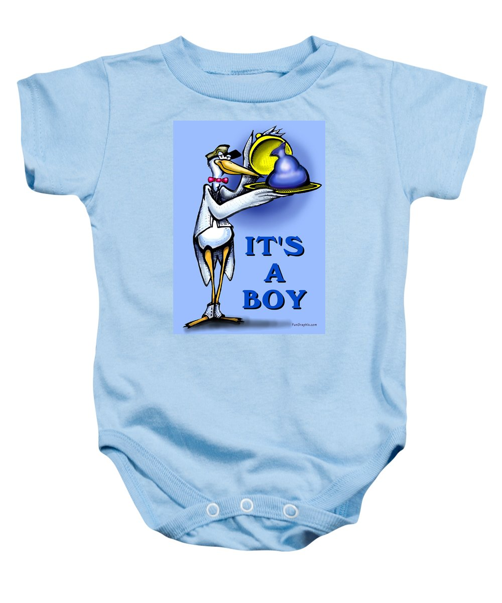 Baby Baby Onesie featuring the greeting card It's A Boy by Kevin Middleton