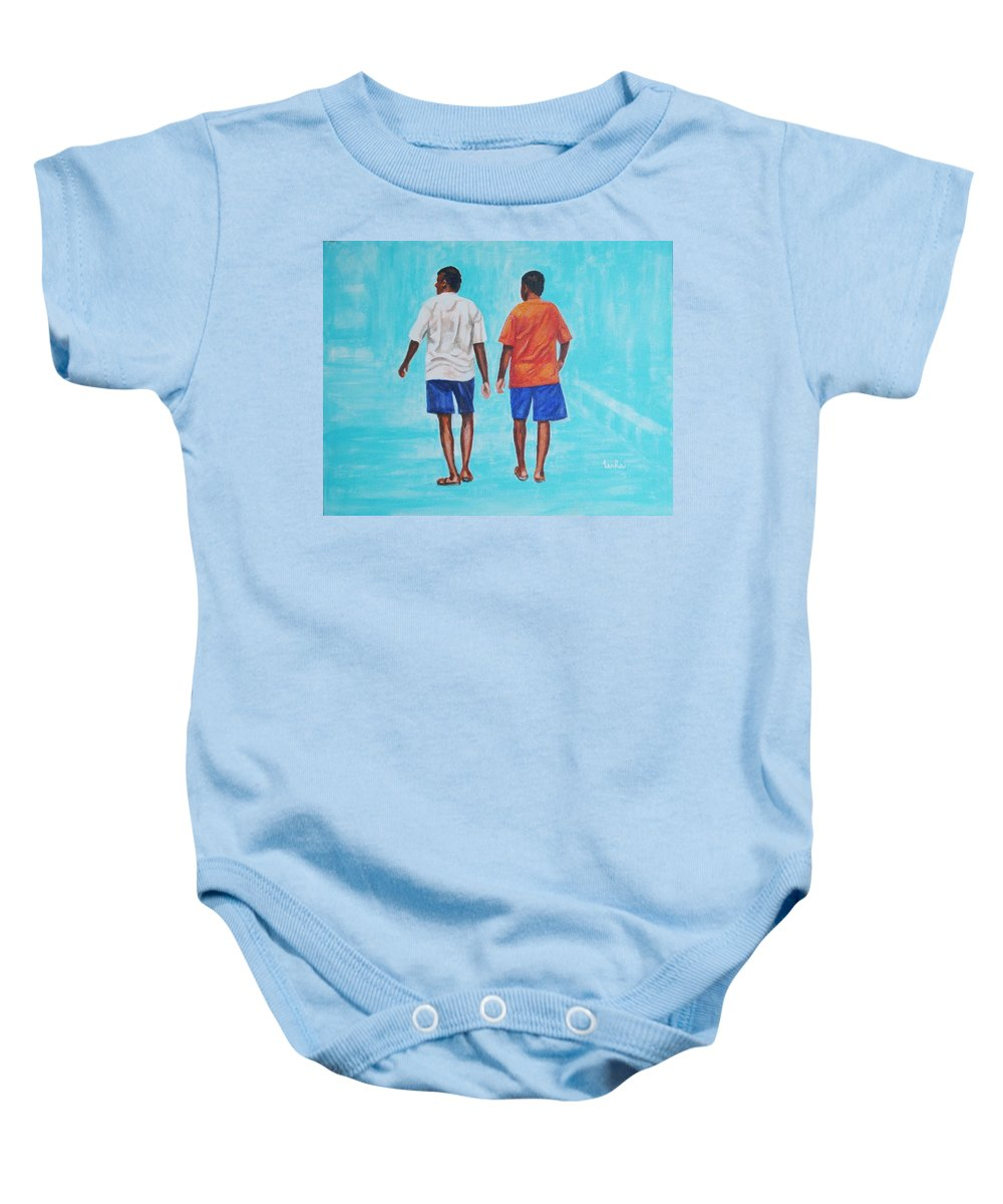 Baby Onesie featuring the painting Jay Walkers by Usha Shantharam
