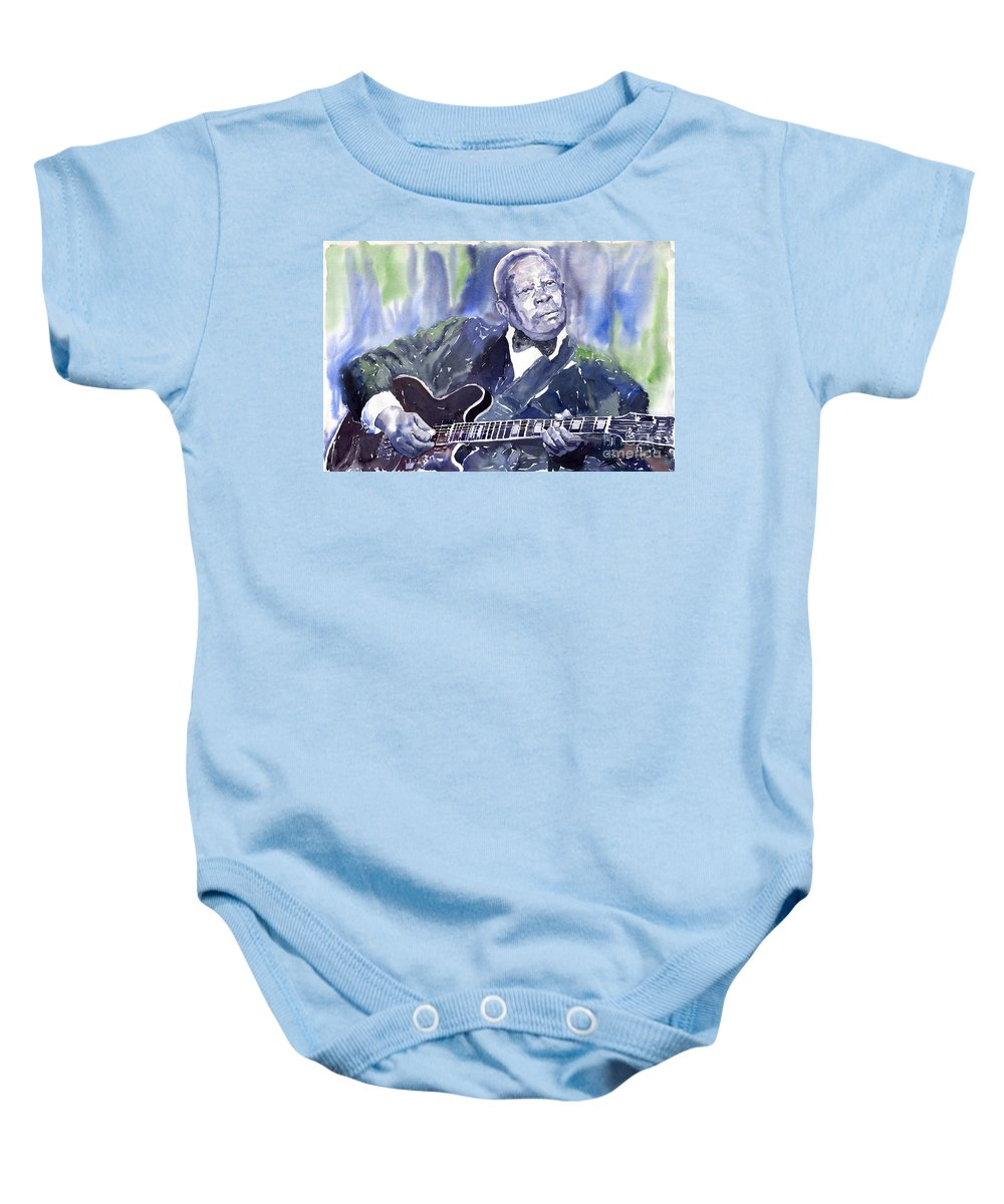 Jazz Bbking Music Watercolor Watercolour Guitarist Portret Baby Onesie featuring the painting Jazz B B King 01 by Yuriy Shevchuk