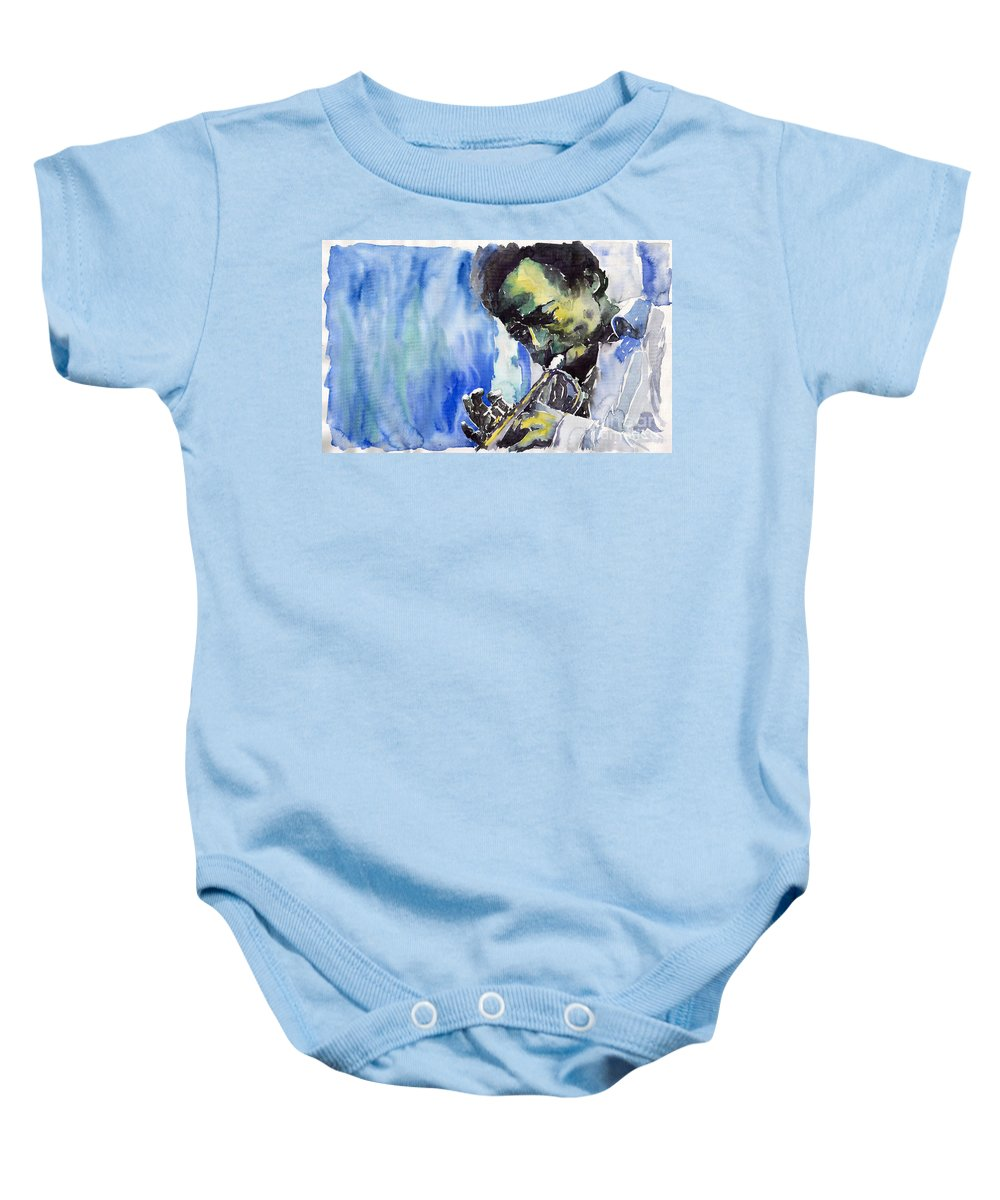 Baby Onesie featuring the painting Jazz Miles Davis 5 by Yuriy Shevchuk