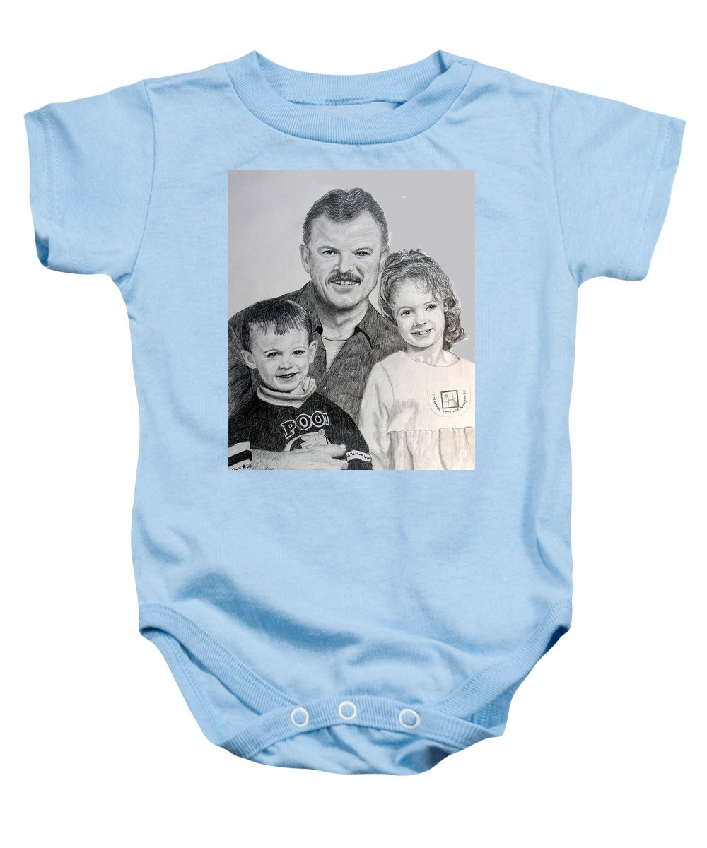 Portrait Baby Onesie featuring the drawing John Megan And Joey by Stan Hamilton
