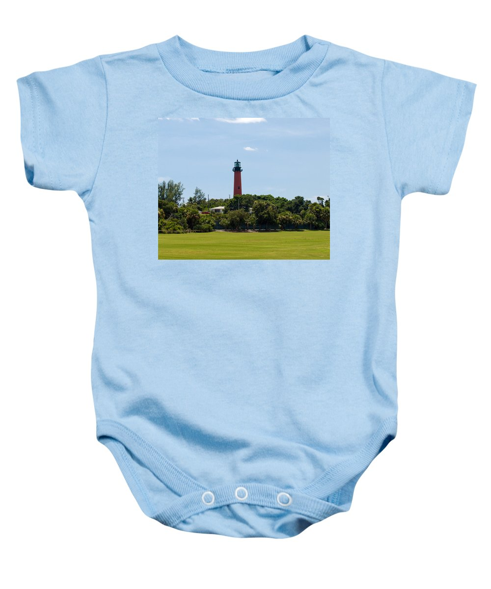 Florida; Juptier; Inlet; Loxahatchee; River; Atlantic; Coast; Shore; Beach; Light; Lighthouse; Beaco Baby Onesie featuring the photograph Jupiter Inlet Lighthouse by Allan Hughes