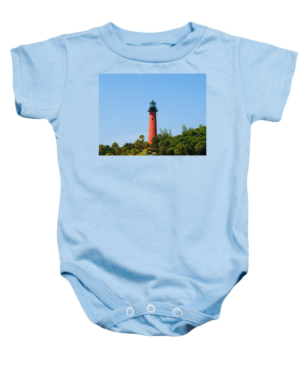 Florida; Juptier; Inlet; Loxahatchee; River; Atlantic; Coast; Shore; Beach; Light; Lighthouse; Beaco Baby Onesie featuring the photograph Jupiter Light In Florida by Allan Hughes