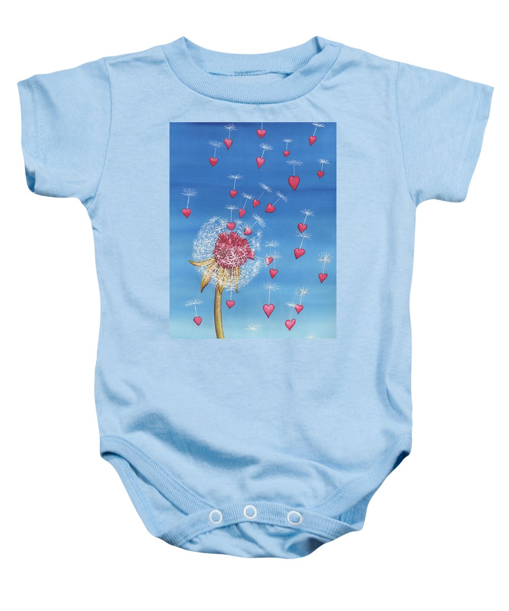 Dandelion Baby Onesie featuring the painting Just, a breath away by Catherine G McElroy