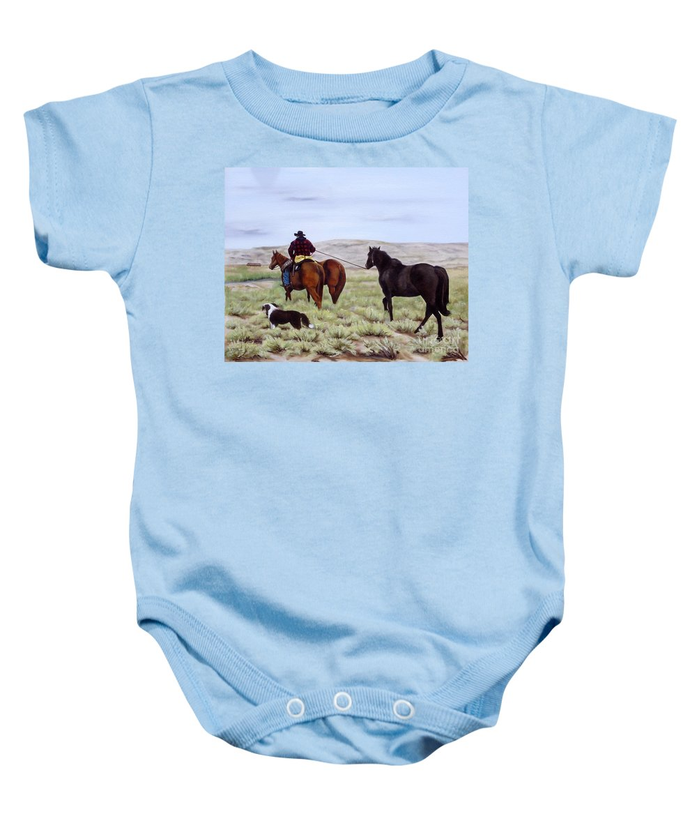 Art Baby Onesie featuring the painting Just Might Rain by Mary Rogers