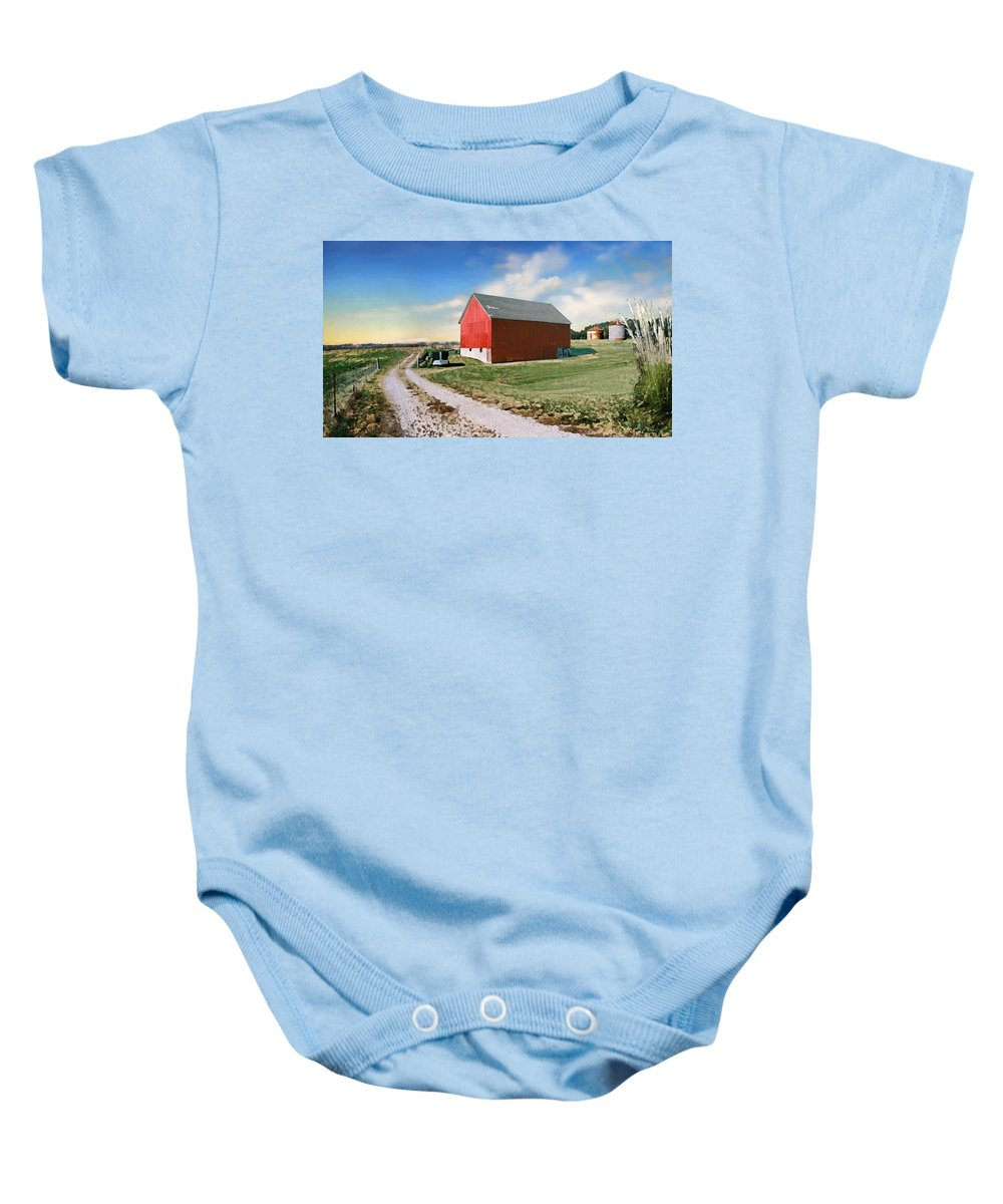Barn Baby Onesie featuring the photograph Kansas Landscape II by Steve Karol