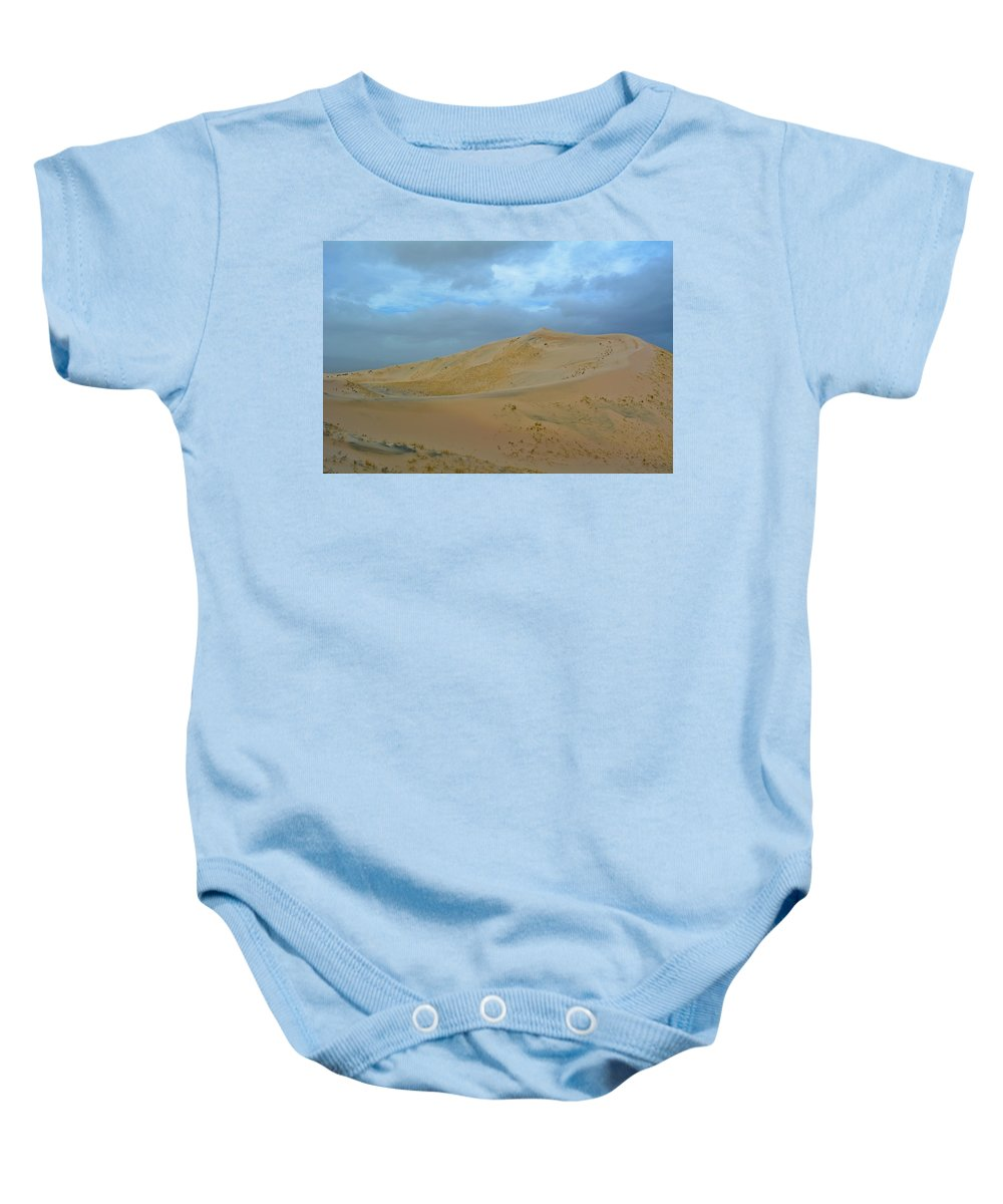 Mojave Desert Baby Onesie featuring the photograph Kelso Dunes Blue Sky by Kyle Hanson