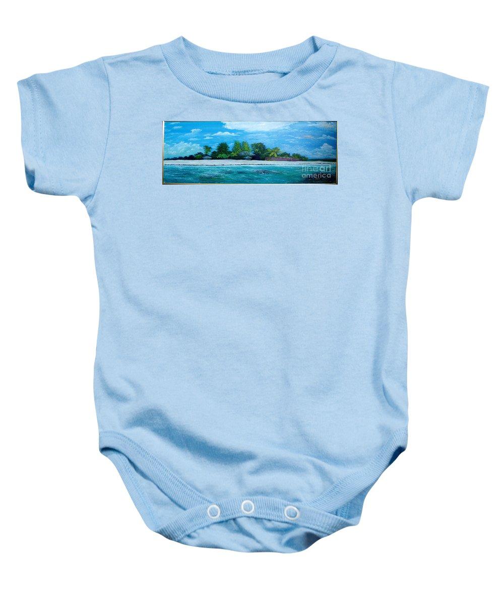 Seascape Baby Onesie featuring the painting Key West Beach by Peter Kulik