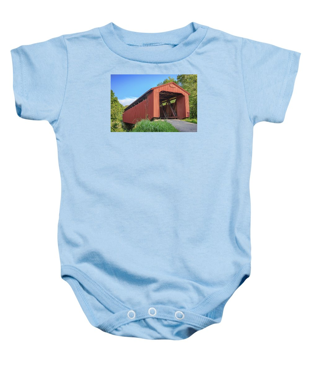 America Baby Onesie featuring the photograph Kidwell Covered Bridge by Jack R Perry