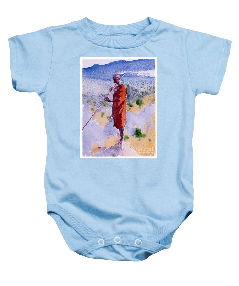 Akseli Gallen-kallela Baby Onesie featuring the painting Kikuyu In A Red Cloak by Celestial Images