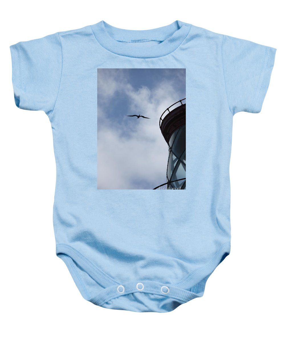 Kilauea Baby Onesie featuring the photograph Kilauea Lighthouse And Bird by Nadine Rippelmeyer