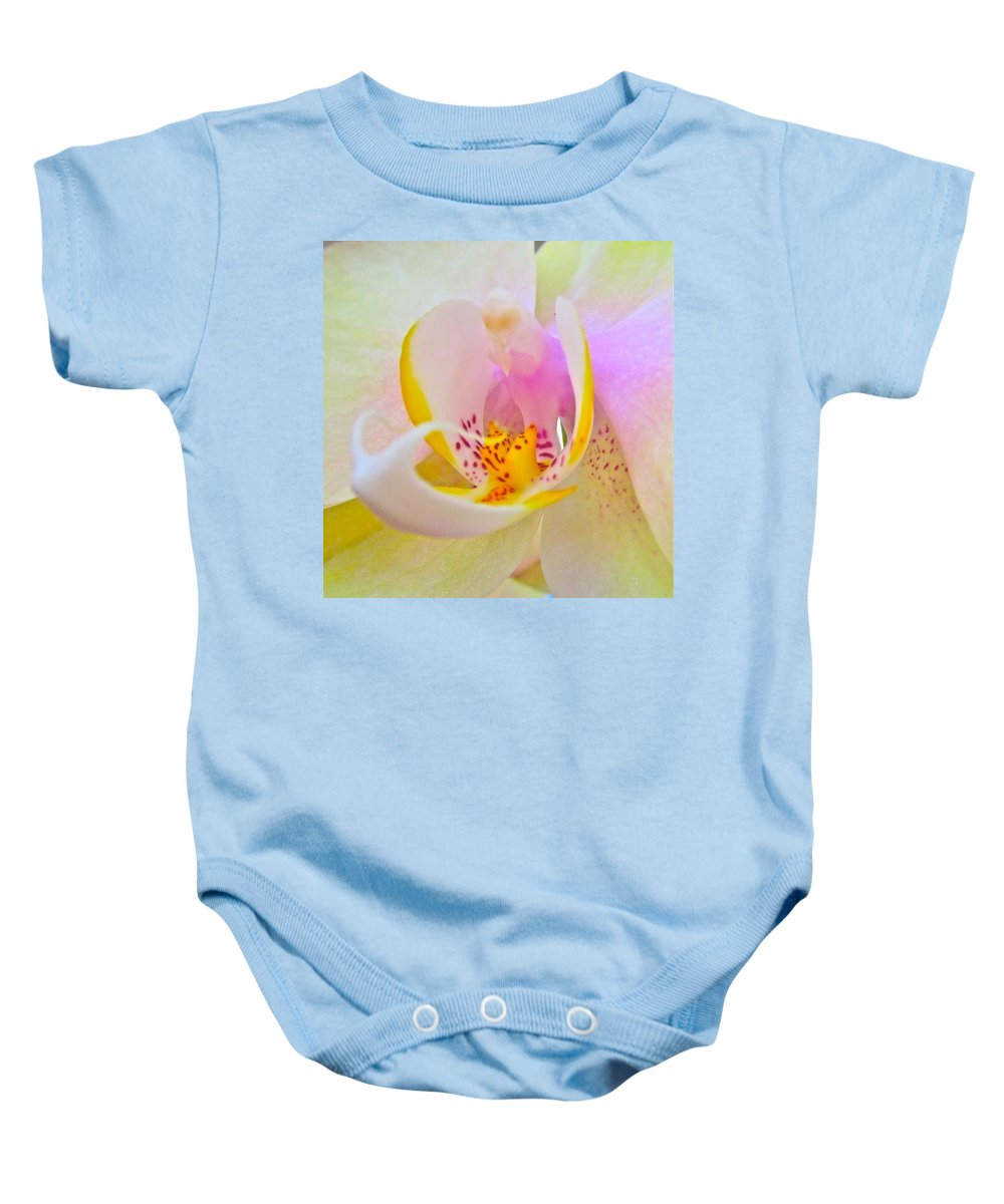 Photograph Of Orchid Baby Onesie featuring the photograph Killing Me Softly by Gwyn Newcombe