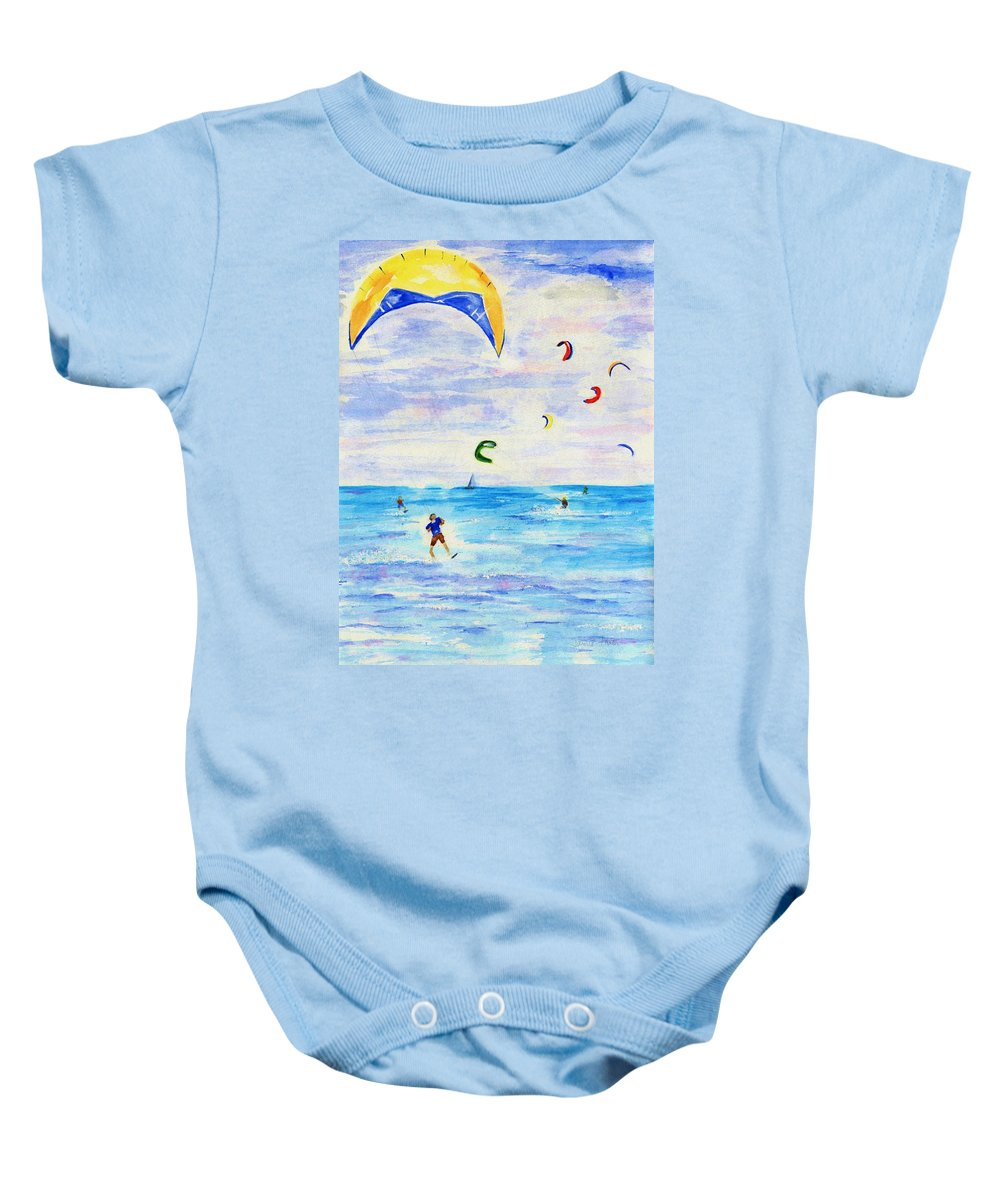 Kite Baby Onesie featuring the painting Kite Surfer by Jamie Frier