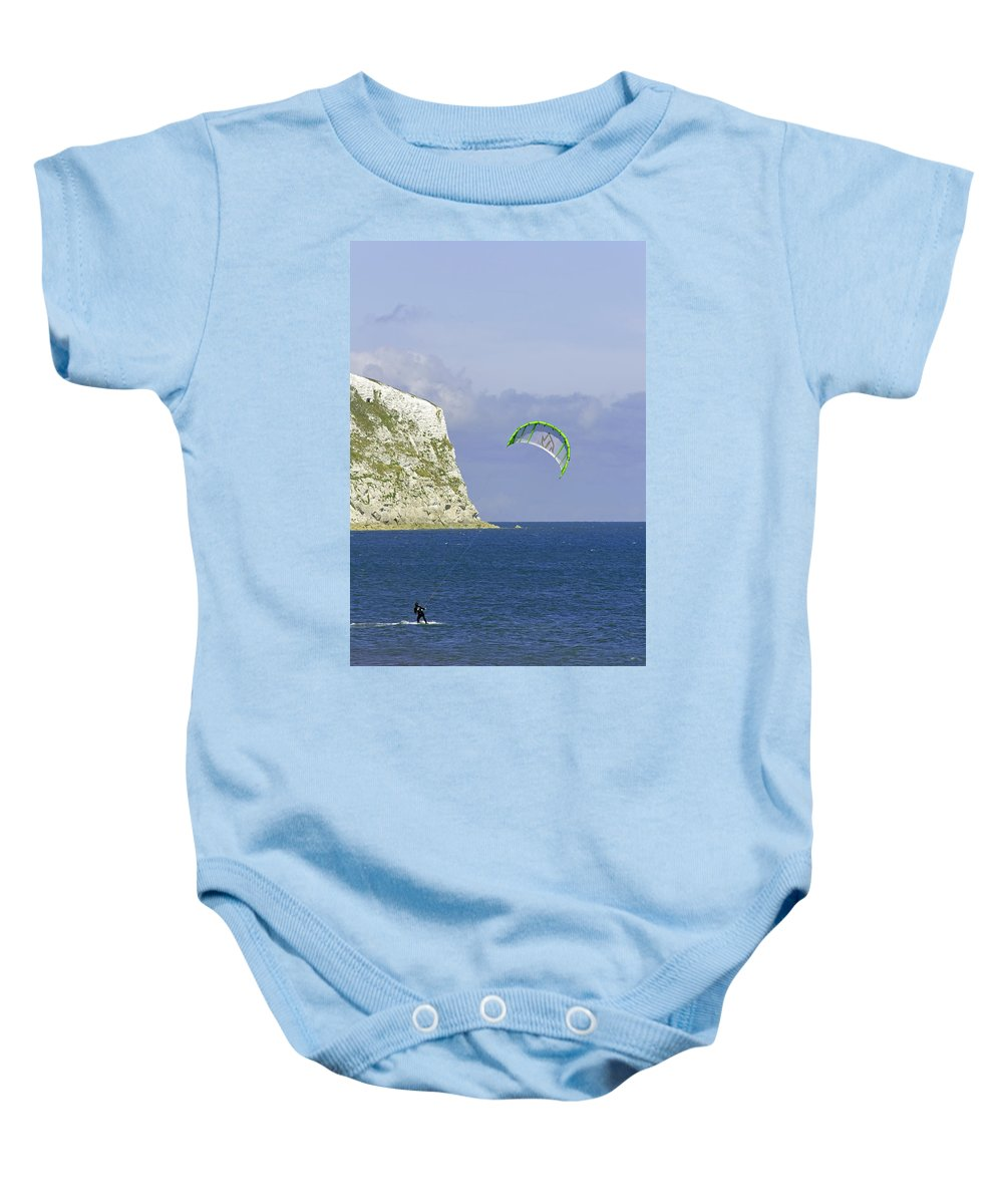 Europe Baby Onesie featuring the photograph Kitesurfer At Yaverland by Rod Johnson