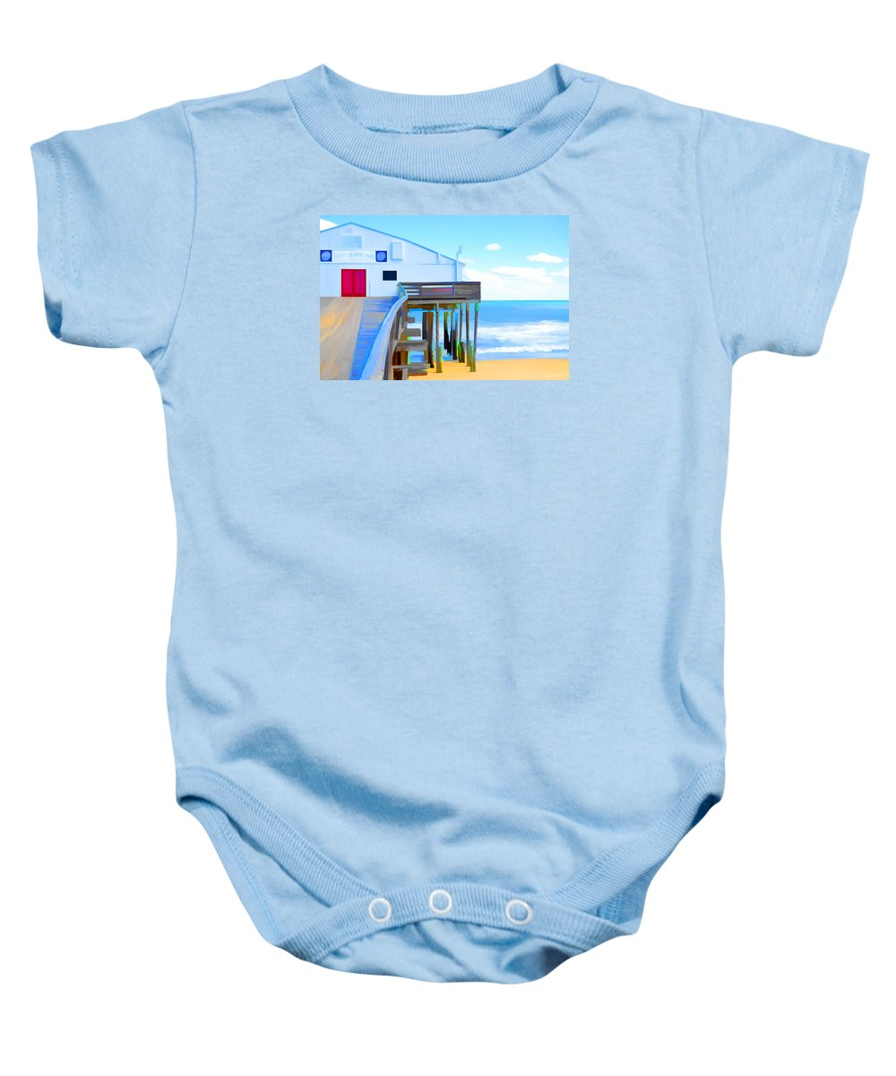 Fishing Pier Baby Onesie featuring the painting Kitty Hawk Pier 2 by Jeelan Clark