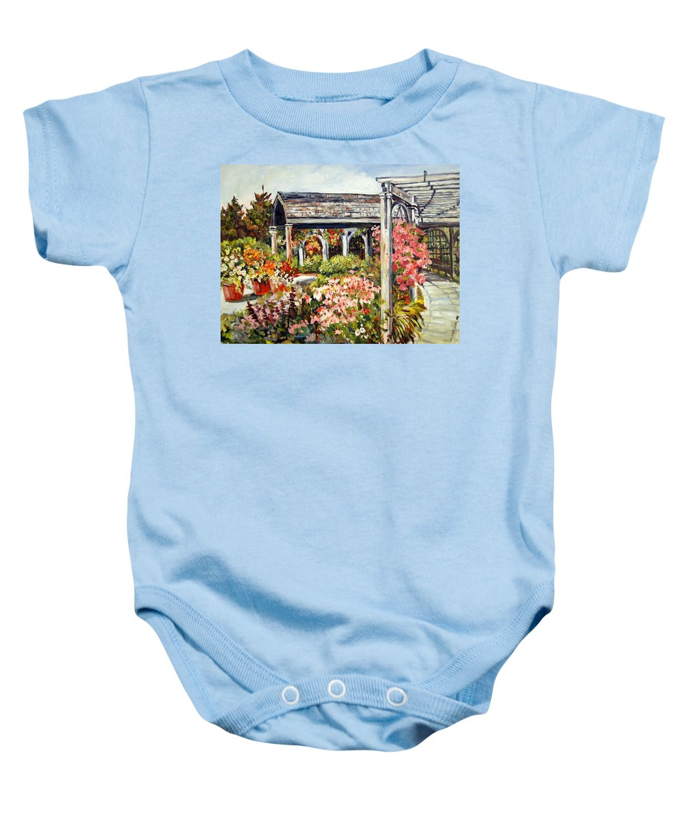 Landscape Baby Onesie featuring the painting Klehm Arboretum I by Alexandra Maria Ethlyn Cheshire