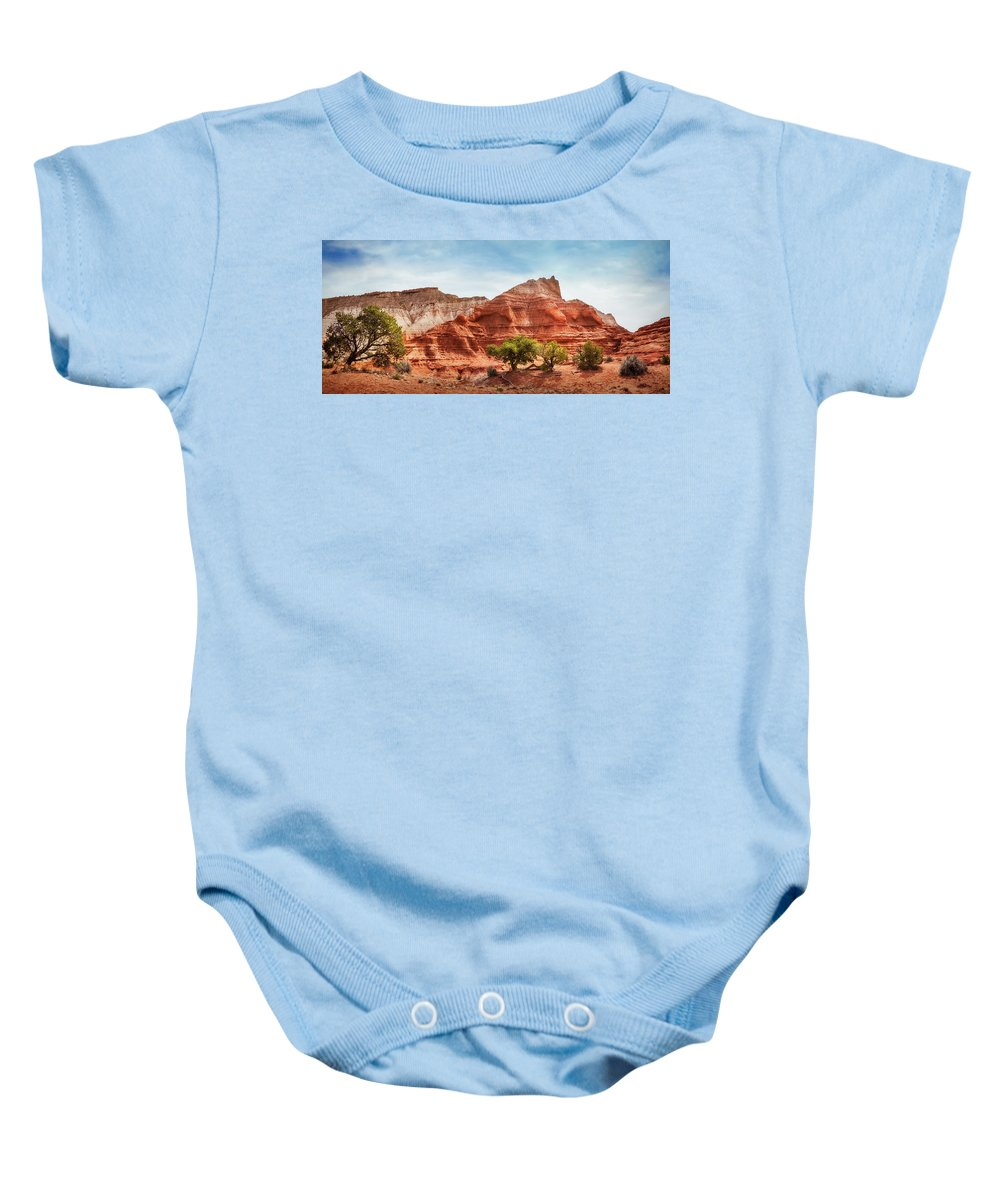 Bryce Baby Onesie featuring the photograph Kodachrome Park Colorful Desert Beauty In Spring. by Daniela Constantinescu