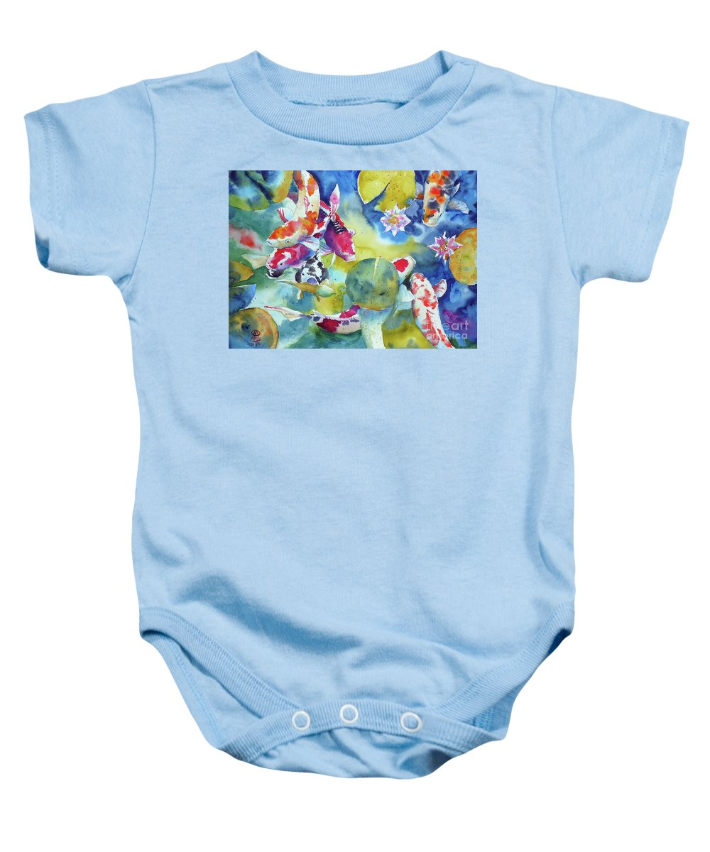 Watercolor Baby Onesie featuring the painting Koi And Two Waterlilies Flowers by Andre MEHU