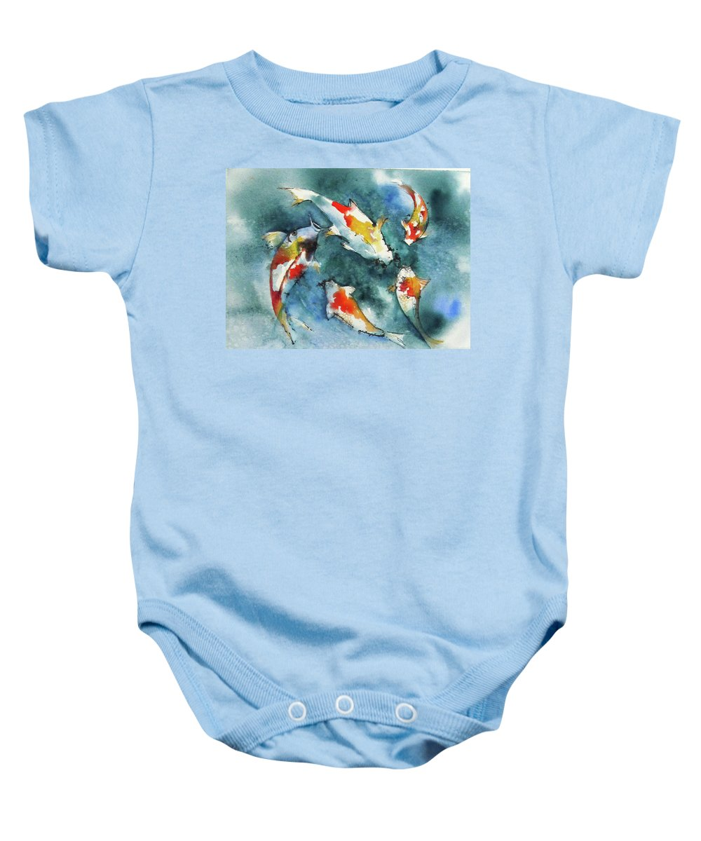 Fish Baby Onesie featuring the painting Koi Jewels by Gina Hall