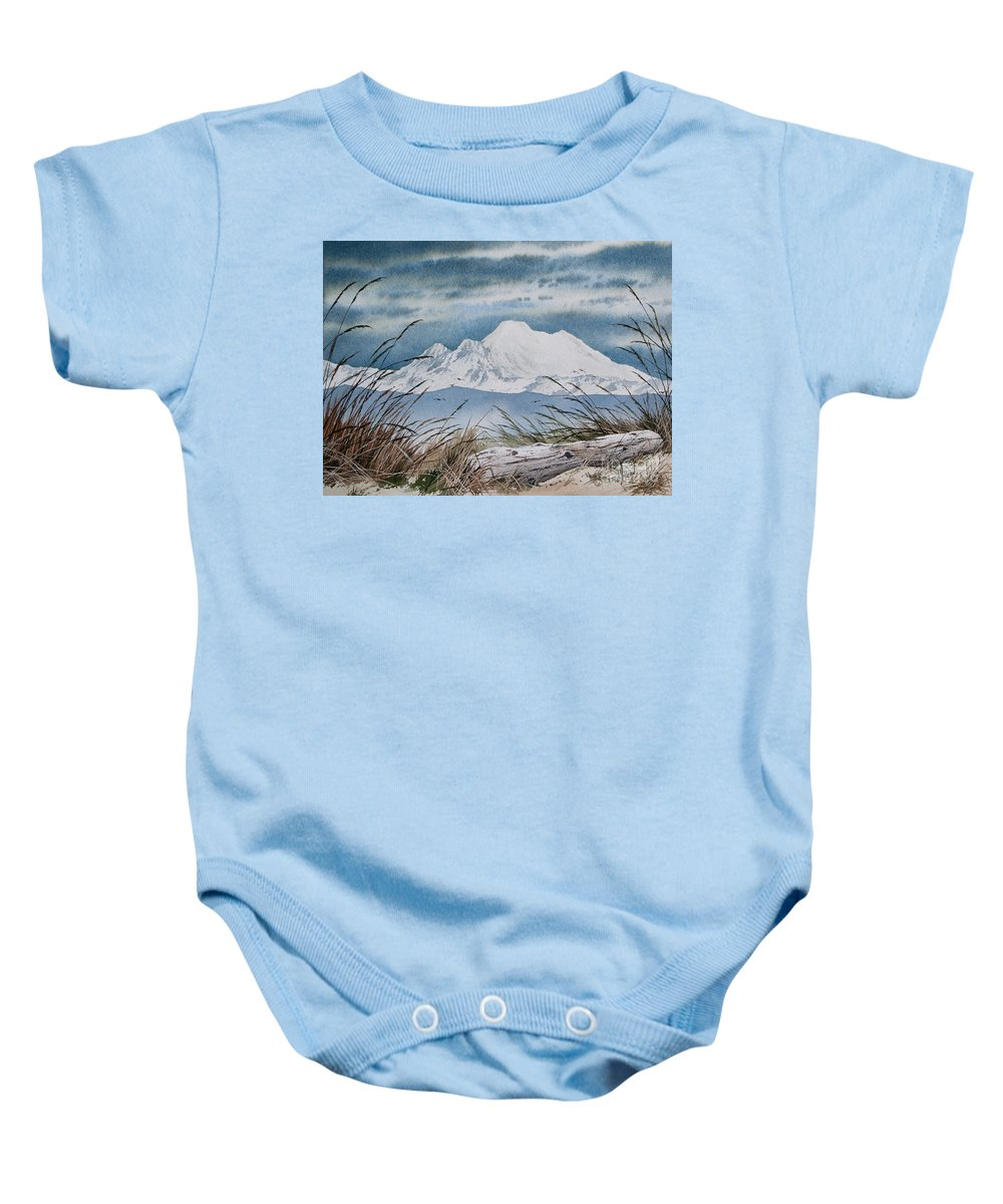 Landscape Fine Art Print Baby Onesie featuring the painting Koma Kulshan by James Williamson