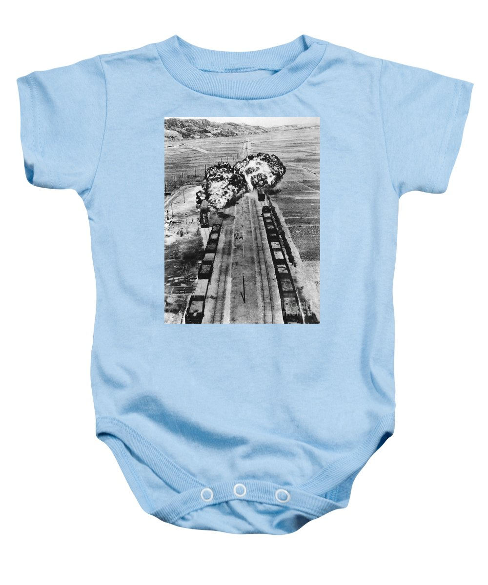 1950 Baby Onesie featuring the photograph Korean War: Napalm Raid by Granger