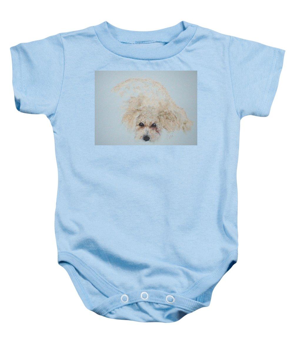 Dog Baby Onesie featuring the drawing Kuku by Cori Solomon