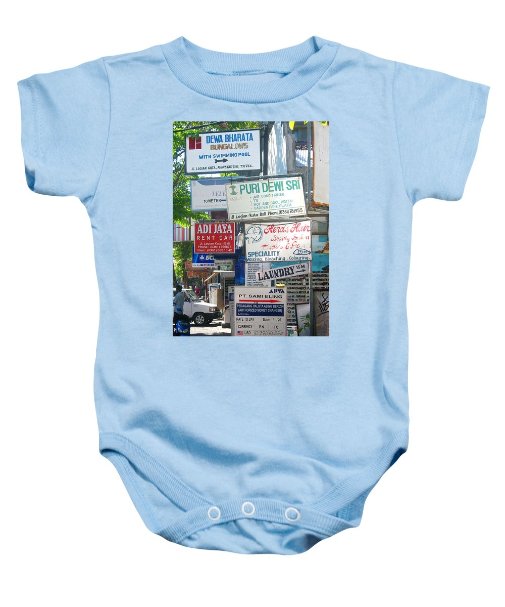 Bali Baby Onesie featuring the photograph Kuta Street Signs -- Bali by Mark Sellers