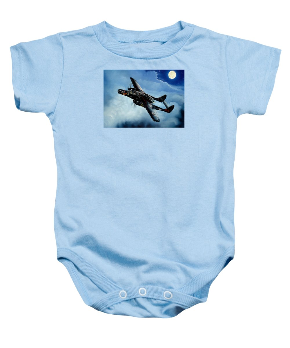 Military Baby Onesie featuring the painting Lady In The Dark by Marc Stewart