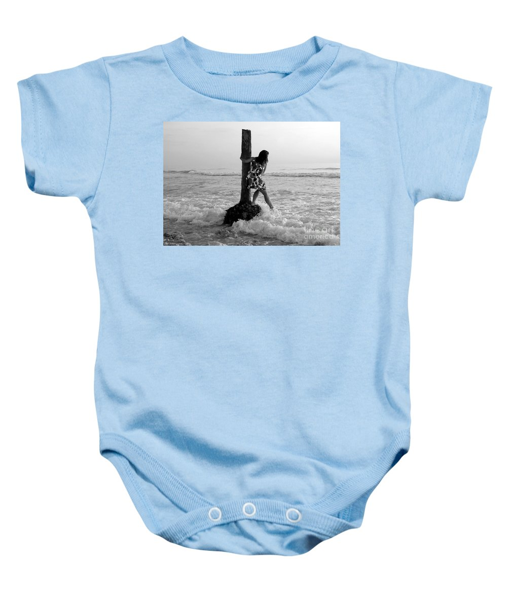 Beach Baby Onesie featuring the photograph Lady In The Surf by David Lee Thompson