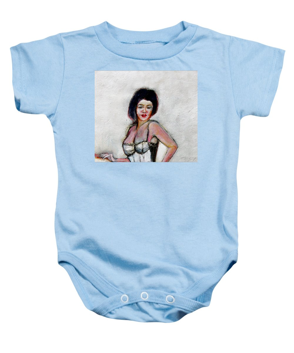 Lady Baby Onesie featuring the painting Lady Jane With Red Lipstick by Tom Conway