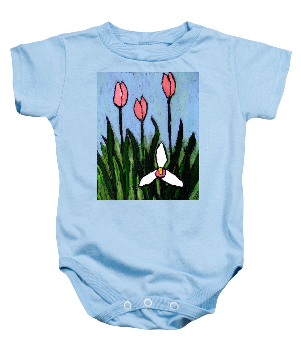 Flowers Baby Onesie featuring the painting Lady Slipper And Court by Wayne Potrafka