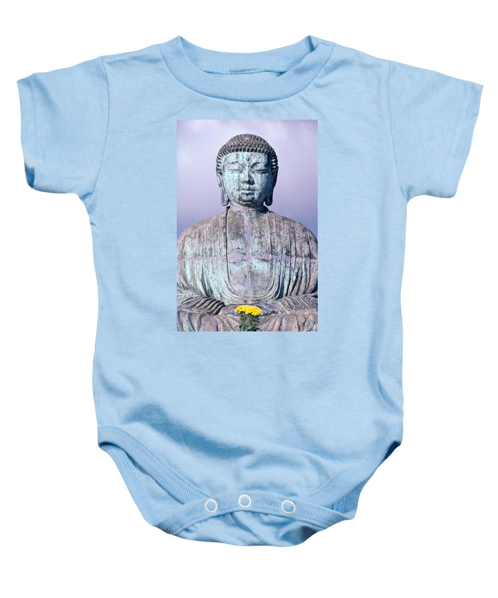 Afternoon Baby Onesie featuring the photograph Lahaina Buddha At Jodo by Greg Vaughn - Printscapes