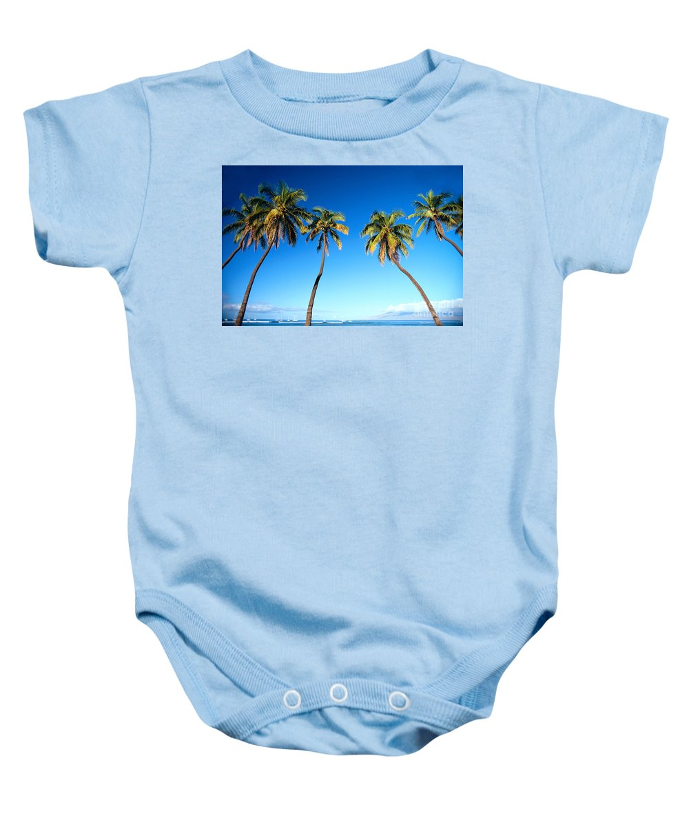 Bark Baby Onesie featuring the photograph Lahaina Palms by Carl Shaneff - Printscapes